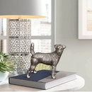 Benjara I551-FDS001 Aluminum Table Accent Dog Statuette Decor Sculpture with Textured Details, Silver