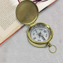 Benzara NAU-BR4885H Wonderful Brass Pocket Compass with Lid White Dial