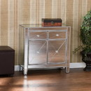 The Urban Port UPT-157136 2 Door Storage Cabinet with 2 Drawers and Mirror Inserts, Gray and Silver