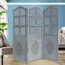 The Urban Port UPT-164564 Three Panel Wooden Room Divider with Traditional Carvings and Cutouts, Blue