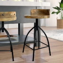 The Urban Port UPT-165867 Industrial Style Adjustable Swivel Counter Height Stool With Backrest