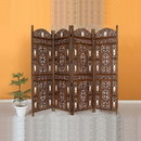 The Urban Port UPT-176787 Handcrafted Wooden 4 Panel Room Divider Screen With Tiny Bells - Reversible