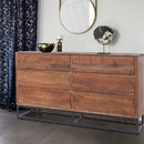 The Urban Port UPT-182996 Modern Acacia Wood Dresser cum Display Unit With Metal Base, Walnut Brown and Black