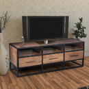 The Urban Port UPT-182999 Spacious Acacia Wood Tv Unit With Metal Frame, Walnut Brown and Black