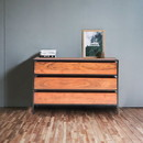 The Urban Port UPT-183800 Spacious Three Drawer Acacia Wood Chest With Iron Framework, Brown and Black