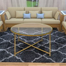 The Urban Port UPT-184805 Round Metal Coffee Table With Glass Top and X Shape Base, Gold and Clear
