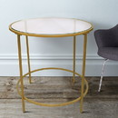 The Urban Port UPT-184807 Contemporary Style Round Metal Framed End Table with Glass Top, Gold and Clear