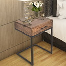 The Urban Port UPT-186118 Mango Wood Side Table with Drawer and Cantilever Iron Base, Brown and Black
