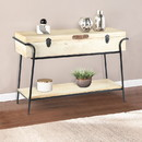The Urban Port UPT-195119 Handmade Wood and Metal Box Console Table with Removable Storage, Brown and Black