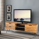 The Urban Port UPT-195125 Roomy Wooden Media Console with Slanted Metal Base, Brown and Black
