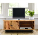 The Urban Port UPT-195276 55 Inch Mango Wood TV Stand with 2 Open Compartments, Brown and Black