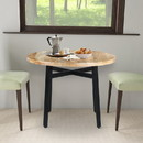 The Urban Port UPT-195277 39 Inch Round Mango Wood Dining Table with Angled Iron Leg Support, Brown and Black