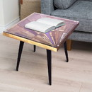 The Urban Port UPT-197219 Square Wooden End Table with Sunburst Design Glass Inserted Top, Multicolor
