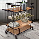 The Urban Port UPT-197314 Metal Frame Bar Cart with Wooden Top and 2 Shelves, Black and Brown
