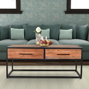 The Urban Port UPT-197873 2 Drawer Industrial Metal Coffee Table with Wooden Tile Top, Brown and Black