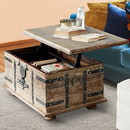 The Urban Port UPT-204782 Farmhouse Mango Wood Lift Top Storage Coffee Table with Metal Inlays, Brown and Black