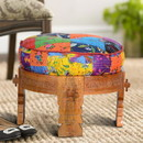 The Urban Port UPT-204789 Round Mango Wood Sofa Side End Stool with Cushioned Top, Multicolor