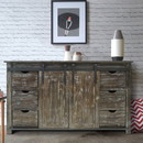 The Urban Port UPT-205742 70 Inch Wooden Console with Barn Style Sliding Door Storage, Distressed Brown