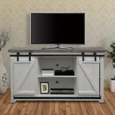 The Urban Port UPT-205743 Farmhouse Style Media Console with Barn Style Sliding Door, Brown and White