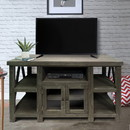 The Urban Port UPT-205747 52 Inch Handmade Wooden TV Stand with 2 Glass Door Cabinet, Distressed Gray