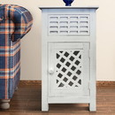 The Urban Port UPT-205761 Single Drawer Wooden Side Accent Table with Door Cabinet, Antique White