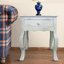 The Urban Port UPT-205763 Rustic Wooden Side Accent Table with Cabriole Leg Support, White