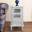 The Urban Port UPT-205764 Single Door Wooden Side Accent Table with Drawer Storage, White