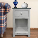 The Urban Port UPT-205767 Single Drawer Wooden Side Accent Table with Open Bottom Shelf, White