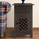 The Urban Port UPT-205769 Single Drawer Wooden Side Accent Table with Door Cabinet, Rustic Brown