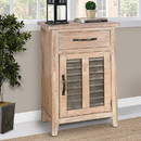 The Urban Port UPT-208450 Farmhouse Storage Accent Cabinet with Drawer and Metal Insert Door, Large, Brown