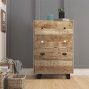 The Urban Port UPT-209122 4 Drawer Handmade Wooden Accent Chest with Carved Drawer Front, Brown and Black