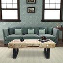 The Urban Port UPT-209123 5 Drawer Wooden Rectangular Coffee Table with Sled Metal Legs, Washed Brown and Black