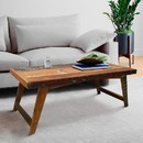 The Urban Port UPT-209128 Rectangular Handcrafted Wooden Coffee Table with Slanted Tapered Legs, Distressed Brown