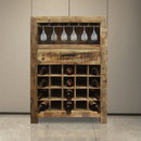 The Urban Port UPT-209132 Rustic Style 1 Drawer Wooden Wine Bar Cabinet with Multiple Storage Slots, Brown