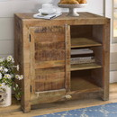 The Urban Port UPT-209133 Farmhouse Style Wooden Storage Cabinet with Door and 3 Open Compartments, Brown