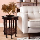 The Urban Port UPT-213128 Star Shape Top Mango Wood Accent End Table with shelf and Spool Turned legs, Brown