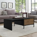 The Urban Port UPT-225264 Wood and Metal Rectangular Accent Coffee Table with Drawer, Brown and Black