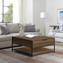 The Urban Port UPT-225268 Wood and Metal Rectangular Coffee Table with Drawer and Shelf, Brown and Black