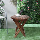 The Urban Port UPT-225289 Farmhouse Wooden Round Folding Chair Side End Table with Planked Top, Rustic Brown