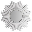 The Urban Port UPT-226281 28 Inch Round Floating Wall Mirror with Sunburst Design Frame, Silver