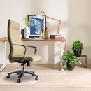 The Urban Port UPT-230090 High Back Ergonomic Executive Leatherette Office Swivel Chair with Casters , Beige and Chrome