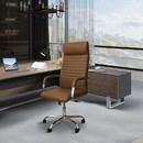The Urban Port UPT-230091 Adjustable Horizontal Ribbed Ergonomic Leatherette Office Chair with Casters, Beige and Chrome