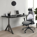 The Urban Port UPT-230094 Adjustable Headrest Ergonomic Swivel Office Chair with Padded Seat and Casters, Black and Gray