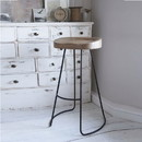 The Urban Port UPT-37910 Wooden Saddle Seat Barstool with Tubular Metal Base, Small, Brown and Black
