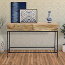 The Urban Port UPT-39270 Mango Wood and Metal Console Table With Two Drawers, Brown