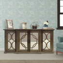The Urban Port UPT-624024792 4 Door Wooden Console with Circled Design Mirrored Front, Brown