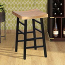 The Urban Port UPT-636042216 The Urban Port Wooden Saddle Seat 30 Inch Barstool With Ladder Base, Brown and Black