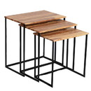 The Urban Port UPT-69000 Wooden Nesting Coffee End Tables With Metal Base, Set Of 3, Brown And Black