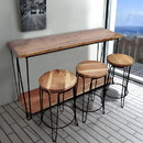 The Urban Port UPT-73100 The Urban Port 4 Piece Bar Dining Set/ Rectangular Table With 3 Round Stools, Brown And Black