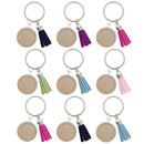TeeVoo 20PCS Keychain Parts with 25mm Pendant Tray Cabochon and Tassel for DIY Jewelry Making